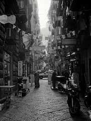 Naples - Quartieri Spagnoli (35mm Kodak Tri-X 400 in Finol) (tjshot) Tags: analog film vintage style 35mm black white light dark contrast dynamicrange resolution sharpness tank developer develop self chemicals inversion stock trix kodak moersch finol alley naples napoli street silhouettes buildings people quartieri spagnoli atsfixer alcaline process grain size ptint scanning scan scanner dpi darkroom