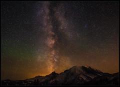 Milky Way and Air Glow (Ernie Misner) Tags: milkyway mountrainier stars f8andyouwontsucceed nightsky airglow sunrise mountrainiernationalpark erniemisner nikon20mmf18 nikond810 lightroom capturenx2 cnx2 nik topazstudio youmightneedalensclothforthemist