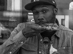 Pizza (kristenscotti) Tags: 75mm blackwhite objects place season street us absoluteblackandwhite abstract black blackandwhite blur bokeh bw city detroit dof fall grey happy hat highcontrast lightroom michigan microfourthirds mono monochrome olympus outside pen penf photoshop pizza pro smooth streetlife streetlight streetlights streetphotography streetportrait streetshooter streetshot streetvision summer sun urban white zoom zuiko unitedstatesofamerica superhero cap buttons beard candid denim d food fun day color calle ciudad blanco negro documentary tourism usa states explore analogue travel dinner yum man
