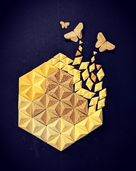 """""""Freedom from Fixed Patterns""""...... (Shachi2016) Tags: origami yellow painting thought pyramid pixel freedom predudice advertisement shachi monochrome symmetry patterns modularorigami ideas"""
