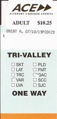 ACEtktGAC10JUL19 01 (By Air, Land and Sea) Tags: train rail railway suburban commuter ace altamontcorridorexpress ticket california livermore vascoroad santaclara greatamerica