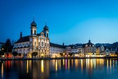 Lucerne, Switzerland (blue5011b) Tags: urban lucerneswitzerland city longexposure reflection church night river evening nikon le bluehour 2470 d810 travel