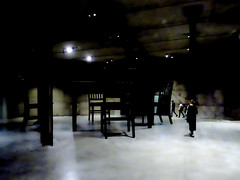 Playing Musical Chairs (Steve Taylor (Photography)) Tags: art digitalart tableandchairs table black brown dark contrast white eerie frightening spooky strange odd wood woman lady perspective tableandfourchairs tatemodern roberttherrien