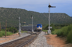 Vegastucky (GLC 392) Tags: semaphore signal signals blade blades amtrak amtk ge p42dc southwest chief train 4 railway railroad passenger 16 158 ojita vegastucky las vegas nm new mexico mountain