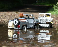 Yor droiving on der wrong side of der road, Mister! (captain_j03) Tags: toy spielzeug 365toyproject lego minifigure minifig moc car auto jeep 6wide willysjeep water wasser reflection puddle pfütze
