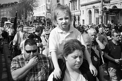 Offspring (explored 2019/09/03) (Tom Levold (www.levold.de/photosphere)) Tags: candid people dublin bw fuji protesters porträt demonstration demonstranten ireland street portrait xpro2 irland xf18135mm sw family girl familie mädchen