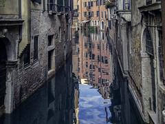 Canal Reflections (kristenscotti) Tags: cityscape photography pictures processing season street abstract architecture art blue brick bright building city clouds color concrete door fall glass green lighting lightroom microfourthirds old olympus outside paint pen penf photoshop pro red reflection reflections symmetry texture traditional urban visuals water zoom zuiko provinceofvenice italy venice europe island canal pink yellow travel tourism love trip venezia balcony