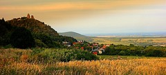 Slovakia (majka44) Tags: slovakia landscape sky 2019 travel grass light color castle ruins architecture view houses forest hill field nice capture green gold red roof building village history czphoto