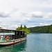 Tourist boat anchored at Kozjak lake in Plitvice Lakes National Park, Croatia