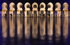 Colonnade (HWHawerkamp) Tags: sheikh zayed mosque outdoors reflection travel destinations architecture city arch religion blue night graphics abstract abudhabi