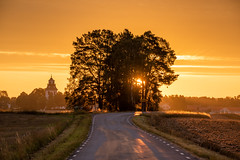 Road to church (jarnasen) Tags: nikon d810 nikon70300mmf4556 road sunrise sweden sverige scandinavia sky sun nature nordiclandscape landscape landskap perspective pov linköping light shadows östergötland outdoor orange sunlight geo geotag gallery copyright järnåsen jarnasen