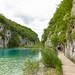 Walking trail along Korana river in Plitvice Lakes National Park, Croatia