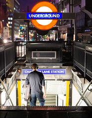The Sound of The Underground - Explored (DobingDesign) Tags: streetphotography people nightcolours nighttime tubestation signage lights londonstreets londontransport tfl colours citylife headphones text steps downthestairs stairway