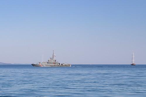 Croatian Navy ships in the Adriatic Sea of Zadar, Croatia