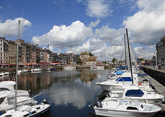 Honfleur harbour (Country Girl 76) Tags: harbour boats honfleur water reflections architecture clouds superintendents house france norman town river seine