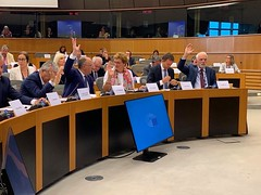Jan Olbrycht podczas głosowania w Komisji ds. budżetu w Parlamencie Europejskim. Bruksela, 3.09.2019r.
