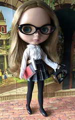 "BaD ""Bittersweet"" September 3, 2019 (Foxy Belle) Tags: neo blythe bohemian beats again ebl 11 doll schoo uniform books glasses school student barbie black tights shoes skirt plaid"