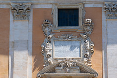 Manuscript on the Wall of  Senatorial Palace, Piazza del Campidoglio, Rome, Italy (OLF Picture) Tags: wallmanuscript wall manuscript piazzadelcampidoglio piazza italy rome campidoglio senatorialpalace town capital historic european exterior famous historical culture city landmark tourism travel architecture building church door old detail stone ancient facade window entrance cathedral baroque decoration antique medieval palace europe religion sculpture architectural history
