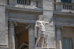 A statue that adorns the Piazza del Campidoglio in Rome, Senatorial Palace (OLF Picture) Tags: sculpture statue piazza campidoglio senatorialpalace religious outdoor catholic historic exterior facade religion architecture italy rome europe building church ancient landmark fountain monument art travel trevi history marble italian cathedral old tourism city roman stone famous