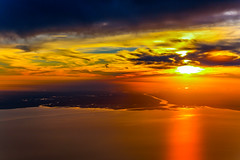 Sunset at Rio de la Plata (FVillalpando) Tags: aerial landscape ocean rivers sunset orange water clouds ngysa nature red