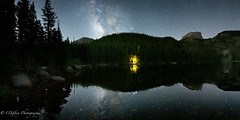 Songs Around a Campfire (OJeffrey Photography) Tags: colorado co coloradorockymountains lake reflection nightsky nightscape rockymountainnationalpark stars starscape milkyway panorama pano ojeffreyphotography ojeffrey jeffowens nikon d850 bearlake