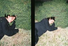katia. offside2019. kyiv. (Yaroslav F.) Tags: halfframe half frame dyptych katia rusetskaya pine grass flash portrait 35mm yaroslav futymskyi fujifilm c200 black