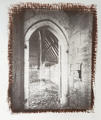 Great Coxwell Barn Porch Doorway, 8x10 Argyrotype º (CactusD) Tags: chamonix 810v 8x10 10x8 largeformat large format film greatbritain great britain uk unitedkingdom gb england oxfordshire greatcoxwellbarn nationaltrust ilford fp4plus blackandwhite monochrome bw black white blackwhite nikkorsw150mmf8 pyrocathd btzs texture architecture altpro alternativeprocesses contactprinting contactprints berggercot320paper 11x14 argyrotype chamonixviewcameras