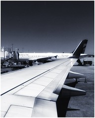 Delta Airlines | Boeing 737 | Flight from Atlanta to San Francisco | Window Seat (steveartist) Tags: windowseat viewfromairliner sky sunlight iphonese snapseed photostevefrenkel landscape wing airport atl airliner monochromatic atthegate