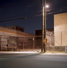 Practical Flex Space (ADMurr) Tags: la eastside sign light niht shadow orange rolleiflex 35e kodak ektar zeiss planar dbb195