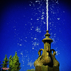 Fountain (MBates Foto) Tags: artifact availablelight blue color daylight existinglight fountain inspiration inspirational inspire nikkorlens nikon nikonais nikond810 nikonfx outdoors outpouring outside plants structure trees water spokane washington unitedstates