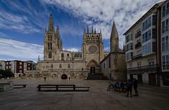 ...el descanso del incansable y los tres... (puesyomismo) Tags: gotico fachada escalinata cimborrio campanario torre cielo nubes banco estatua peregrino plaza catedral burgos