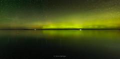 Glen Arbor Glows (Aaron Springer) Tags: michigan northernmichigan lakemichigan thegreatlakes sleepingbearbay auroraborealis northernlights fog mist haze stars nightphotography outdoor panoramic