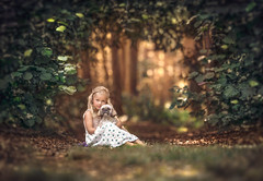 Friends ({jessica drossin}) Tags: jessicadrossin portraits portrait face child girl grass bokeh leaves leaf green brown golden natural light kid pet dog friends