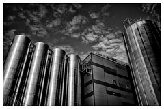 Enough Space (ianrwmccracken) Tags: mill wideangle building flour cylinder storage sony perspective fife industry carrs contrast steel monochrome reflection cloud solitude grain sky kirkcaldy a6000 blackandwhite harbour metal