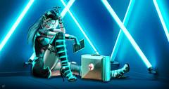 Cyber nurse (meriluu17) Tags: una foxcity lepoppycock neon teal blue light lights nurse hospital cyber robot robotic android peol people fantasy surreal