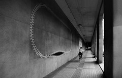 (cherco) Tags: man tokyo tunnel architecture alone arquitectura lonely blackandwhite monochrome composition canon composicion city ciudad japan vanishingpoint zipper graffiti canoneos5diii columnas bicycle bike salaryman columns