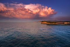 Albanian thunderstorm (snowyturner) Tags: rain rainbow clouds skies landscape albania corfu sea cumulus moon greece