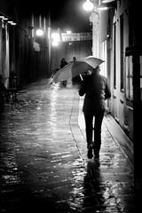 Zadar, Croatia (pas le matin) Tags: nb bw noiretblanc blackandwhite travel voyage world monochrome croatie croatia night nuit street rue candid umbrella parapluie pluie rain streetlight lampadaire réverbère silhouette hrvatska zadar canon 7d canon7d eos7d canoneos7d atmosphere mood