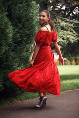 Woman in the Red Dress (majestiele.co.uk) Tags: red dress girl woman female shoulders converse purple jewellery beauitful scarlet crimson trees