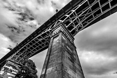 Under the Bridge (Derwisz) Tags: bridge spabridge architecture structure buildings arch lowangleofview lowpov perspective scarborough england nothyorkshire unitedkingdom canoneos40d monochrome blackwhite blackandwhite