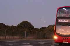 Go-Ahead London (anthonymurphy5) Tags: road travel bus london outside outdoor wheels transport transportation flickt metrobus busspotting londonheathrow busphotography goaheadlondon volvob9tl wrighteclipsegemini lx59ddn wvl335 dadnladtransportphotos heathrowcentral sunset sky planes