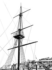 Sunny day in Whitby (johnhjic) Tags: johnhjic north yorkshire x1d xcd ships tall whitby riging mast art black white line mood moody nest church town key rigging