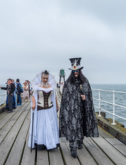 Drac and his Vampress (daveseargeant) Tags: whitby north yorkshire pier seaside coastal steampunk coast water sea leica x typ 113 festival event 2019 people dracula gothic vampire street candid