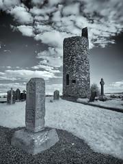 Round Tower (kckelleher11) Tags: 1240mm ir ireland kildare olympus clouds em5 infrared kilcullen mzuiko old omd round tower trees