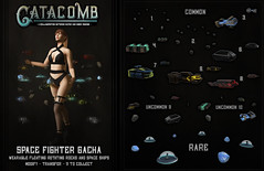 Catacomb Space Fighter Gacha Ad (Inner Demons) Tags: catacomb original mesh 3d sl secondlife hilted innerdemons {id} liaison collaborative liaisoncollaborative animated accessory accessories wearable space rocks ships aliens rare gacha chance lottery scifi cyber cyberlogic