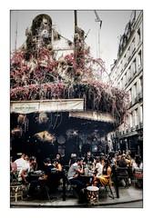 Un bistrot Parisien (Jean-Louis DUMAS) Tags: paris bistrot café bar people personnes fleurs immeuble voyage trip travel street rue streetlife