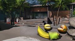 Harleigh Ranch Cottage and fruits (Ƙɨᴛᴛƴ Ɓᴀ́ʟσʀ) Tags: house fruits trompeloeil chezmoi beach palms water home
