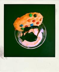 Lunch! (LeftCoastKenny) Tags: utata ironphotographer table antiquesherbertglass mms cookie baked frozen icecream benjerry chocolatechipcookiedough ubetchocolatesyrup poladroid utata:project=ip288 utata:description=hide