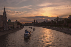 Moscow sunset (Lyutik966) Tags: river water ship boat architecture church cathedral belltower wall palace moscow capital russia sky building coth5 exquisitesunsets
