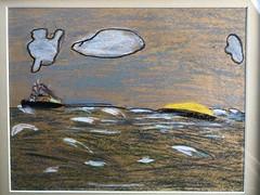 Sudbury and Sulphur Barge (ruthlesscrab) Tags: art pastel sudbury tug barge burrardinlet pointatkinson 1962 sulphur towing shipping vancouver bc canada